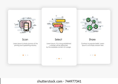 Onboarding screens design in how to use app concept. Scan Select and Share icon. Modern and simplified vector illustration, Template for mobile apps.