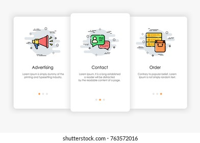 Onboarding screens design in marketing concept. Modern and simplified vector illustration, Template for mobile apps.