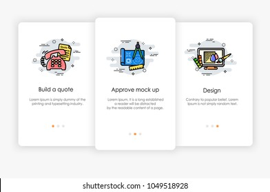 Onboarding screens design in order process concept. Modern and simplified vector illustration, Template for mobile apps.