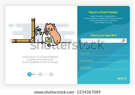 Onboarding Screens Design Report Water Problem Stock Vector Royalty