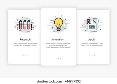 Onboarding screens design in research and innovation concept. Modern and simplified vector illustration, Template for mobile apps.