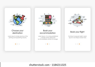 Onboarding screens design in Travel concept. Modern and simplified vector illustration, Template for mobile apps.