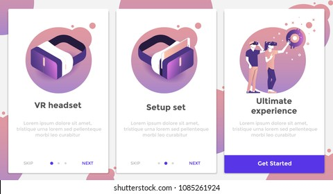 Onboarding Screens User Interface Kit. Modern user interface UX, UI screen template for mobile smart phone or responsive web site. Virtual Reality theme. Vector Illustration