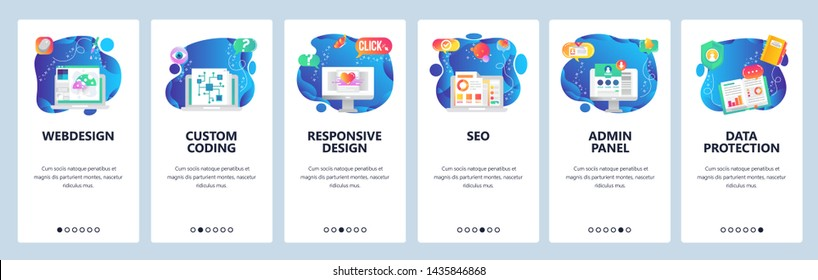 Onboarding for web site and mobile app. Menu banner vector template for website and application development. Webdesign, Custom coding, Responsive design, SEO, Admin panel, Data protection screens.