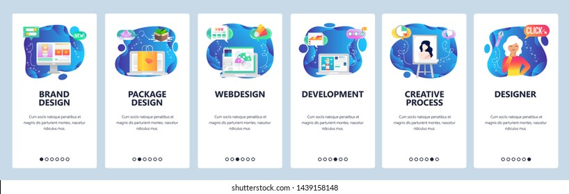 Onboarding for web site and mobile app. Menu banner vector template for website and application development. Brand and package design, Webdesign, Development, Creative process, Designer screens.