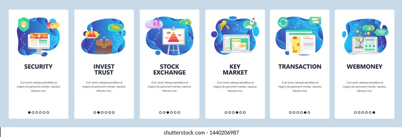 Onboarding for web site and mobile app. Menu banner vector template for website and application development. Security, Invest trust, Stock exchange, Key market, Transaction, Webmoney screens.