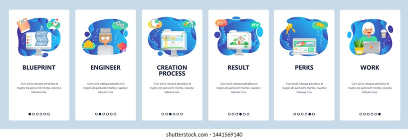 Onboarding for web site and mobile app. Menu banner vector template for website and application development. Blueprint, Engineer, Creation process, Result, Perks, Work walkthrough screens.