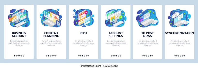 Onboarding for web site and mobile app. Menu banner vector template for website and application development. Business account, Content planning, Post, Account settings and other walkthrough screens.