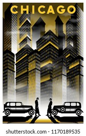 Once upon a time in night in Chicago.. Handmade drawing vector illustration. Retro poster. Art Deco style.