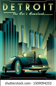 Once upon a time in night in Detroit. Handmade drawing vector illustration. Retro poster. Art Deco style.