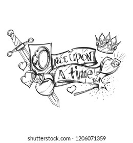 Once upon a time. Outline vector illustration for fairy tales.