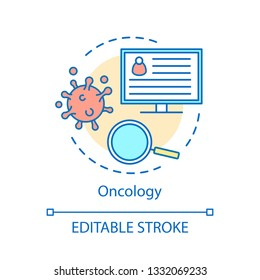 Oncology concept icon. Cancer therapy idea thin line illustration. Tumor screening, diagnosis vector isolated outline drawing. Oncological medical care. Neoplasm, influenza, virus. Editable stroke