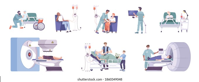 Oncology diagnostic treatment care 8 flat compositions with mri scanner chemo and radiotherapy children ward vector illustration
