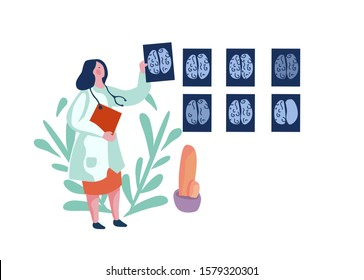 Oncology female doctor looking at brain scans. Flat vector illustration.