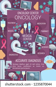 Oncology hospital department, oncologist doctor, health care center. Vector doctor and cancer cell, MRI scanner and radiation therapy medication. Breast mammography diagnostics and research