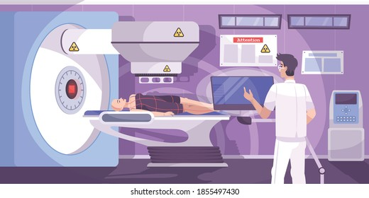 Oncology technician administers radiation therapy radiotherapy treatment to female bald cancer patient horizontal flat composition vector illustration