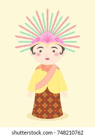 Ondel-ondel Jakarta Traditional Puppet Mascot Symbol from Indonesia vector illustration cartoon character design.