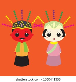Ondel-ondel are traditional dolls from Jakarta, Indonesia. There're usually a male and a female doll