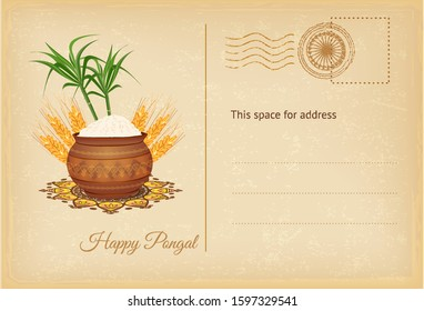 Ondian Pongal festival greeting postcard with pongal rice in a traditional mud pot, wheat grain and bamboo. Vector illustration.