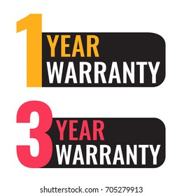 One 1, 3 three year warranty. Vector badge illustration on white background.