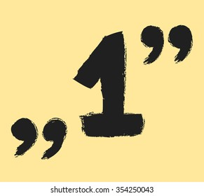 one 1 symbol and quotation marks, vector illustration