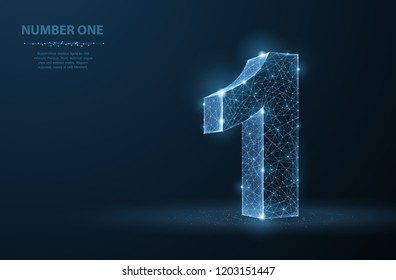 One. Abstract vector 3d number 1 illustration isolated on blue background. Celebration, success, winner, leader symbol. First champion, event, best win, award champion concept or illustration