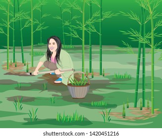one agriculturist harvest bamboo shoot vector design