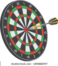 One arrow stuck in the middle of the darts board