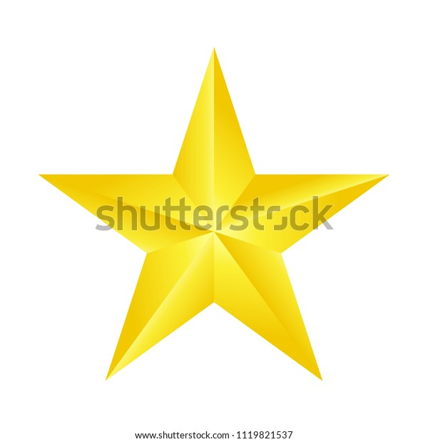 one beautiful decorative gold star isolated white,vector illustration.