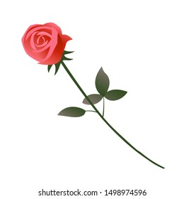 One beautiful red rose flower as a gift for a woman as a sign of love. Vector isolated illustration on a white background.