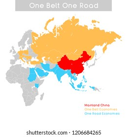 """""""One Belt One Road"""" new Silk Road concept. 21st-century connectivity and cooperation between Eurasian countries. Vector illustration."""