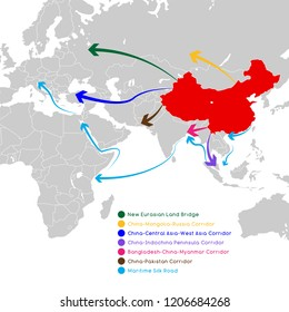 """One Belt One Road"" new Silk Road concept. 21st-century connectivity and cooperation between Eurasian countries. Vector illustration."