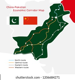"""One Belt One Road"" new Silk Road concept. China - Pakistan Economic Corridor. Vector illustration."