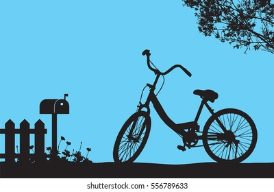 One bicycle parking under blooming flower tree near wood fence and mail box, floral meadow on the ground, silhouette shadow vintage banner travel scene on blue background