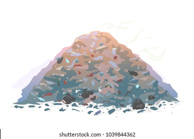 One big garage dump with mountains of trash and waste bags with an unpleasant smell, isolated on white, environmental pollution