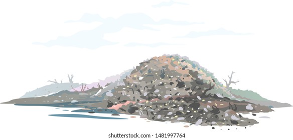 One big gray heap of trash and waste bags isolated on white, garage dump with mountains of trash and waste bags, disgusting heap of household waste, environmental pollution illustration