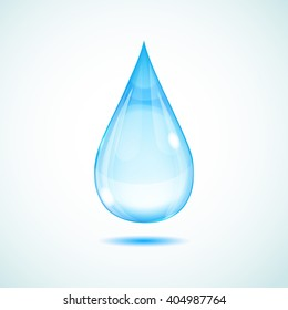 One big light blue water drop on white background with shadow