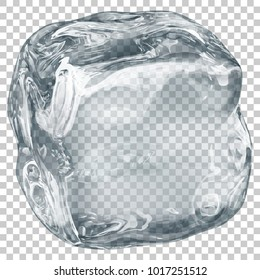 One big realistic translucent ice cube in gray color on transparent background. Transparency only in vector format