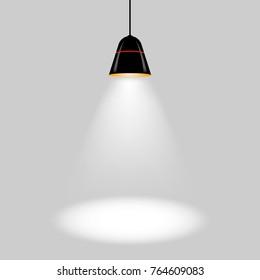 one black ceiling lamp vector illustration ESP