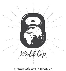 One black kettlebell on white background with world map. Vector illustration.