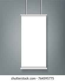 One Blank Roll up banner stand mockup cover template.