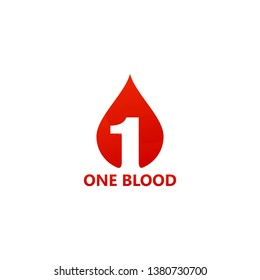 One Blood Logo Template Design Vector, Emblem, Design Concept, Creative Symbol, Icon