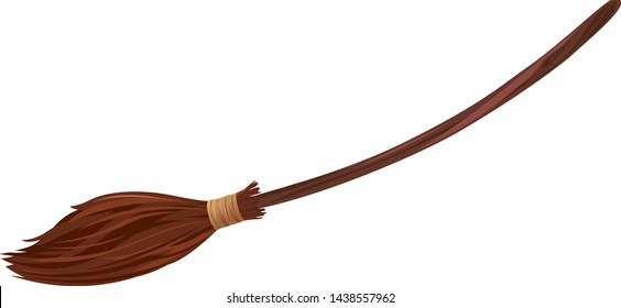 One brown broom with long wooden handle, witch broomstick isolated illustration