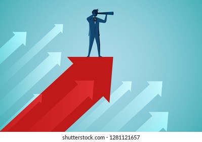 One Businessmen standing holding binocular on red arrow fling up to the sky. business success concept. startup. illustration cartoon vector
