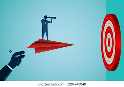 One Businessmen standing holding binocular on a paper plane fling go to target Circle red. Business success goal. creative idea. leadership. cartoon vector illustration