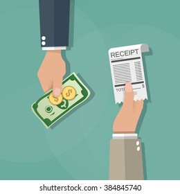 One cartoon hand giving receipt bill and another hand giving cash money, dollar banknote and coins. cash payments concept. vector illustration in flat design on green background