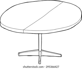 One cartoon wooden round table with partition as outline