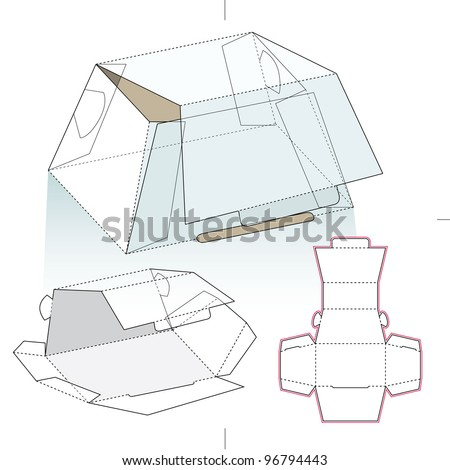 One Chocolate Piece Box Diecut Pattern Stock Vector Royalty Free