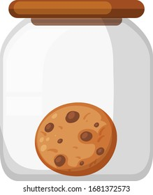 One chocolatechip cookie in the jar illustration