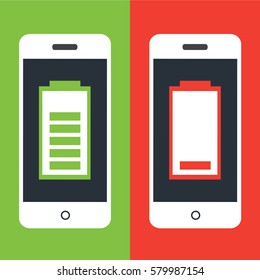 one clean smart phone With full Battery and one modern mobile With Low Battery. two cool phones with energy and without energy on a green and red color. empty and fuel cellphone